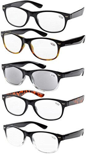 Eyekepper 5-pack Spring Hinges 80's Reading Glasses Includes Sun Readers +0.75