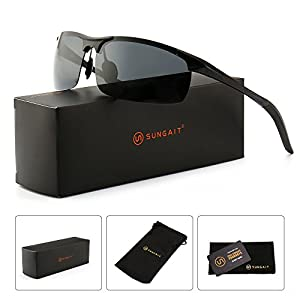 SUNGAIT Men's HD Polarized Sunglasses for Driving Fishing Cycling Running Metal Frame UV400 (Black, Gray)