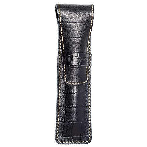 - DiLoro Single Pen Case Holder Sleeve Thick Buffalo Full Grain Leather (Buffalo Black Croc Print)