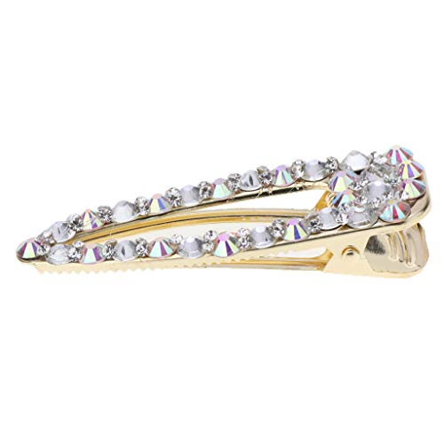CUTICATE Full Diamante Hair Clip Anti-slip Crystal Bows Hair Clamp Pin Clasp Barrette Rhinestone Hairpin Hair Styling Jewelry for Women Ladies - Gold (Diamante Clip)