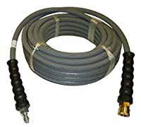 "4000 PSI Grey 3/8"" x 50 FT 1 Layers of High Tensile Wire Braided Rubber Wrapped Pressure Washer Hose with Couplers"
