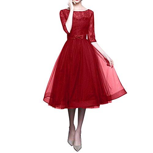 Kleider mit Jugendweihe Langarm Charmant Abschlussballkleider Rot Damen Abendkleider Knielang Kurzes Promkleider Spitze xxp1YSq
