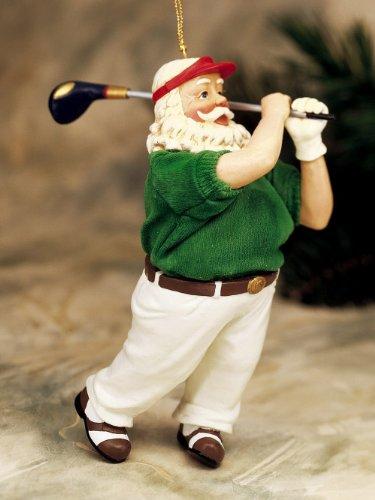 - Santa Golfer Resin Handpainted Christmas Ornament