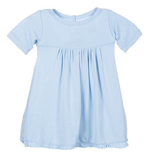 (KicKee Pants Girls Short Sleeve Swing Dress with Keyhole Button Closure, Pond Blue, 6- 12 Months)