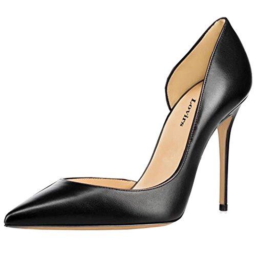 Lovirs Womens Bout Pointu Slip Sexy À Talons Hauts Sur Pompes Stiletto Fête De Mariage Plus La Taille Chaussures Noir Pu