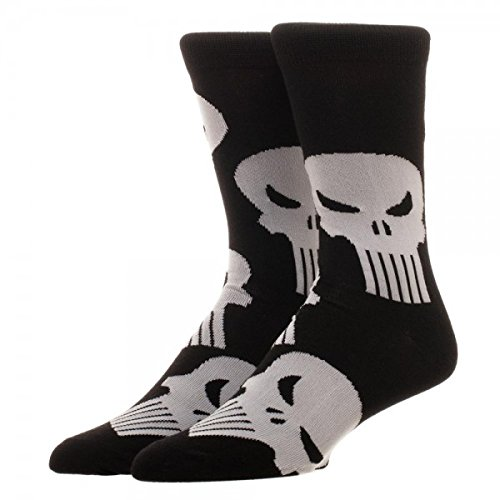 MARVEL COMICS THE PUNISHER Skull Logo Allover Printed Crew Socks BIOWORLD