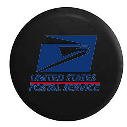 USPS United States Post Office Mail Carrier Jeep RV Spare Tire Cover Black 28 in by Steelcut