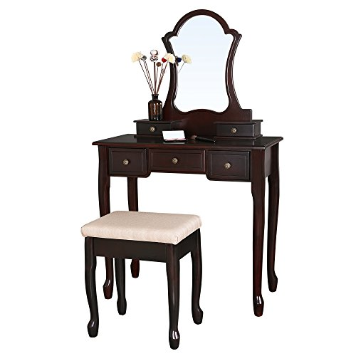 SONGMICS Vanity Set with Lotus Shaped Mirror Makeup Dressing Table Cushioned Stool 5 Drawers