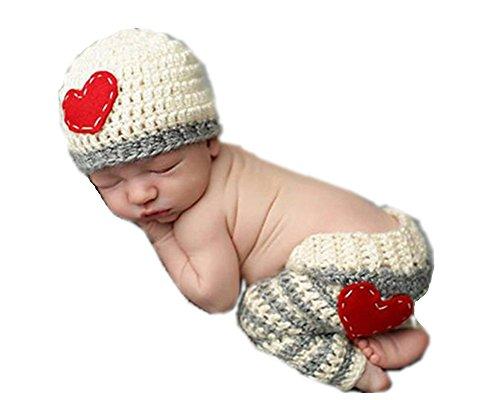 Ximkee Cute Newborn Baby Boy Girl Infant Heart Crochet Costume Photo Photography Props 0-6 Months