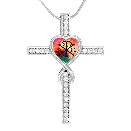 BlingDi Fashion Alpha Omega Chi Rho Design Heart Shaped Cross ()