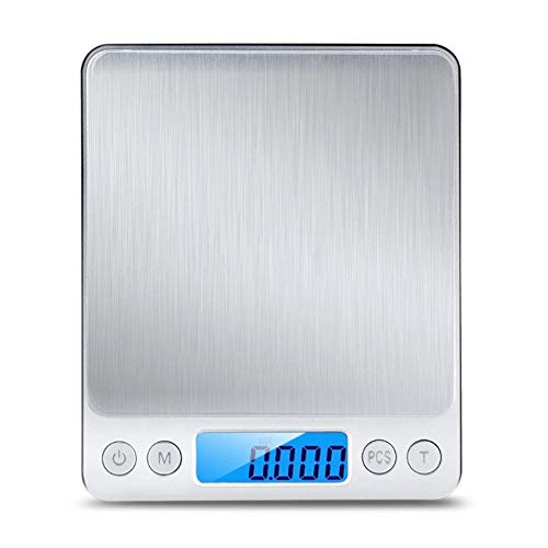 - High Precision Kitchen Scale Electronic Stainless Steel 3KG Food Scale Jewelry Scales Mini Pocket Scales Contains Two Small Trays And A Bowl 12.810.51.9cm