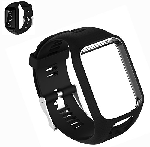 Weinisite Replacement Wristband Strap for TomTom Runner 2/TomTom Runner 2 Cardio/TomTom Runner 3/TomTom Runner 3 Cardio/TomTom Spark 1/TomTom Spark 3(Black)