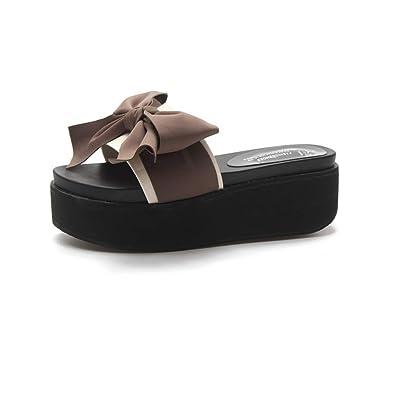 4a0242de9 Women Bowknot Wedges Platform Thick Sole Sandals Comfortable Peep Toe  Casual Slides High Heel Girl Slippers