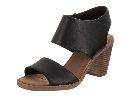 Toms Women's Majorca Cutout Sandal - Black Leather, 5.5 B(M) US -
