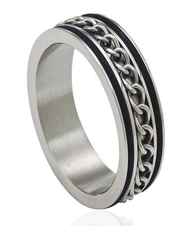 JustMensRings Stainless Steel Ring With Spinning Chain and Black Trim for Men