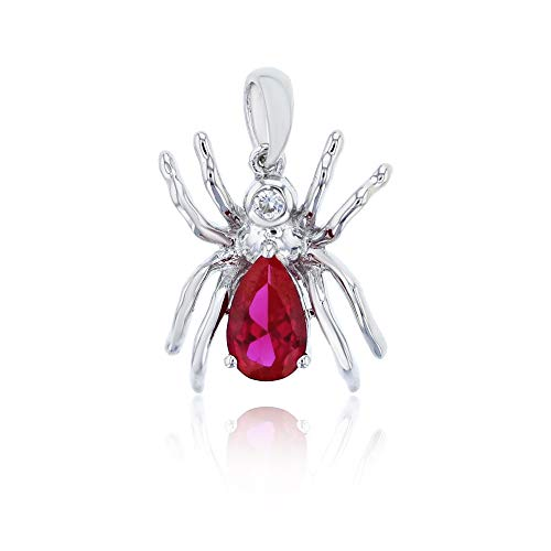 Sterling Silver Rhodium Created Ruby And Created White Sapphire Spider ()