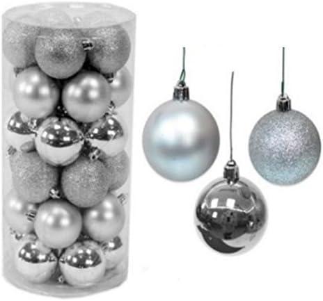 Pack 30 bolas Navidad brillo, mate purpurina 6cm Plateado: Amazon ...