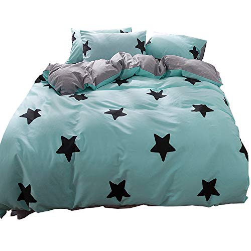 Kids Duvet Cover Set Twin Teal Blue with Black Star Print Soft Cotton Reversible Bedding Sets with Zipper Closure Grey Stripe Pattern Bedding Collection for Children Teens Gift Black Friday & Cyber Monday 2018