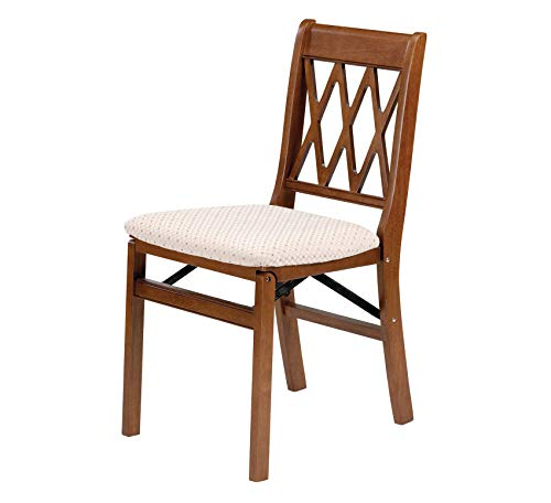 - Wood & Style Furniture Lattice Back Folding Chair Finish, Set of 2, Fruitwood Home Office Commerial Heavy Duty Strong Décor