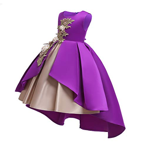 (Pageant Dresses for Girls Party Birthday First Communion Feast Tutu Ball Gown Flower Dresses Elegant Kids Fall A Line Bodice Flower Dress Size 3 4 Years (Purple 110))