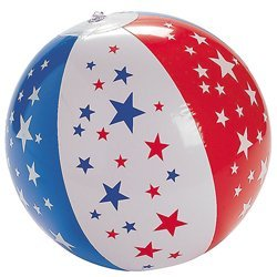 (Set of 12 Inflatable Patriotic Star Red White Blue Beach)