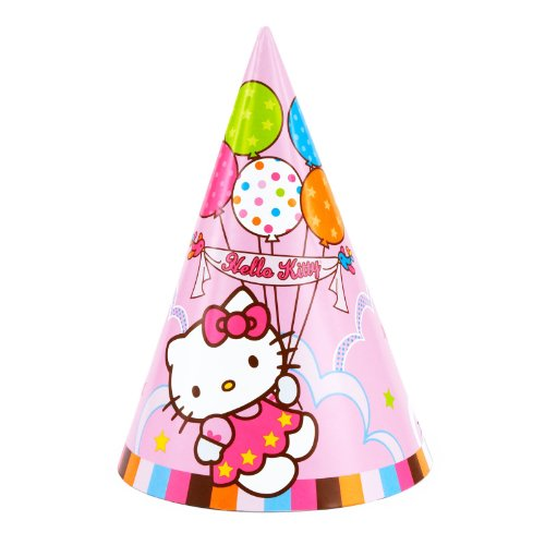 Images Kitty Hello Costume (Pretty in Pink Hello Kitty Balloon Dreams Birthday Party Hats Wearable Supply (8 Pack), Multi Color,)