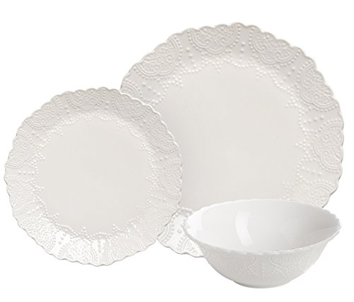 Dinnerware Set 6 Piece Service for 2,White Pocelain,Scalloped Embossed Bone China, Wedding Housewarming Gifts