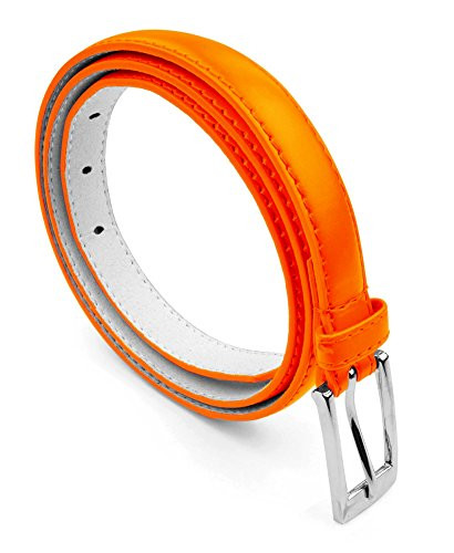 Women Skinny PU Leather Dress Belt Polished Buckle Belle Donne - Orange X-Large ()