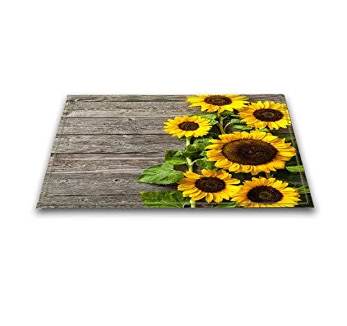 LB Sunflower Bath Mat, Blooming Sunflower on The Wood 3D Printing Outdoor Indoor Kitchen Decor Rug Mat Welcome Doormat 16 x 24 Inch Non-Slip Bath Mat