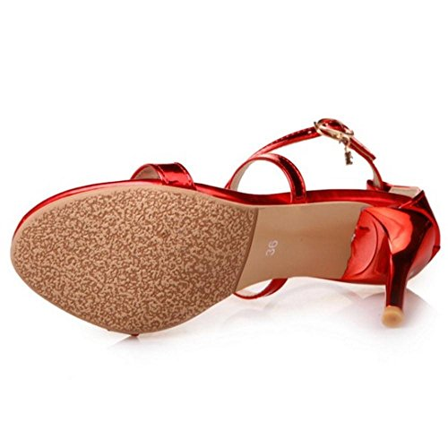 Red Sandales en Sangle TAOFFEN Croisee Femmes Talons nwg1R8Zq