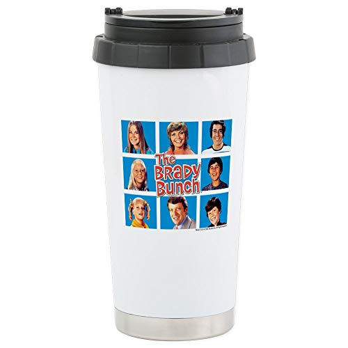 (CafePress The Brady Bunch Grid Stainless Steel Travel Mug Stainless Steel Travel Mug, Insulated 16 oz. Coffee Tumbler)