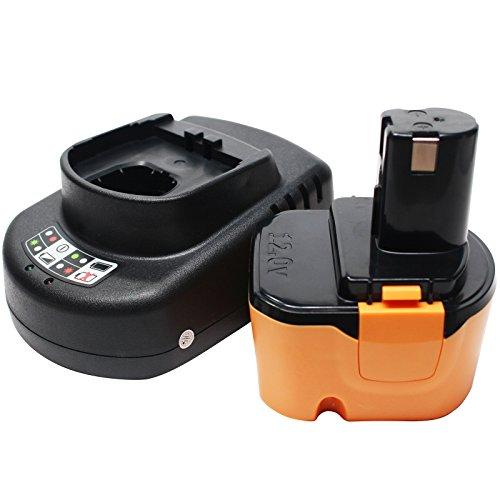 Ryobi 12v Battery Replacement (1300mAh,NICD) + Universal Charger for Ryobi Power Tool Battery and Charger - Compatible with Ryobi 1400652, Ryobi CCD1201, Ryobi CHD1201, Ryobi CHD1202