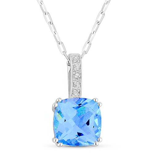 Topaz Aa Pendant Diamond Blue - 14K White Gold Cushion Cut Swiss Blue Topaz and Diamond Pendant