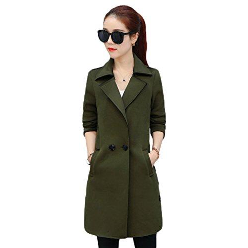 Manteau Revers YouPue Boutonnage coat Trench Trench Printemps Double Vert Automne et Veste Femme Mince 1YqgX1