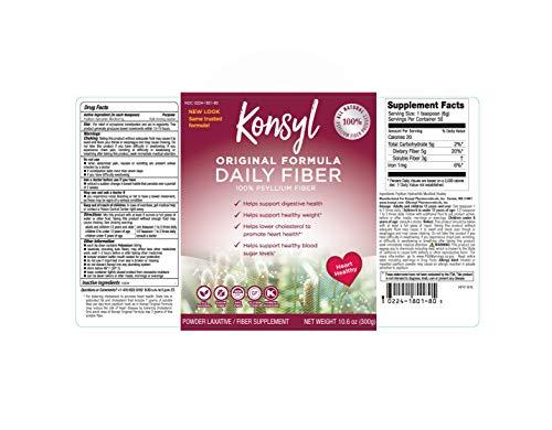 KONSYL PHARMACEUTICALS Original Formula 100% Psyllium Fiber, 10.6 Ounce