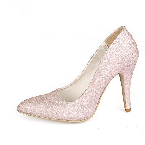 Amoonyfashion Femmes Matériaux De Mélange À Enfiler Pointu Bout Fermé Talons Hauts Pompes Solides-chaussures Rose