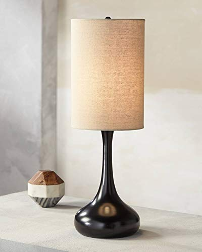 Modern Table Lamp Espresso Bronze Metal Droplet Linen Cylinder Shade for Living Room Family Bedroom Bedside Office - 360 Lighting