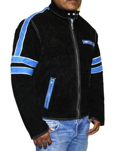 Men's Soft Suede Leather James Dean Zipper Style Black with Blue Stripes Jacket-23728 - James Dean Style Jacket