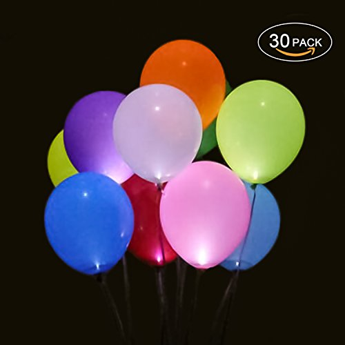 30PCS LED Balloon,Iteczhu LED Light Up Balloons Mixed Colors Light Ball 12inch Latex Balloons Christmas Halloween Decoration Wedding Birthday Party Balloons Supplies
