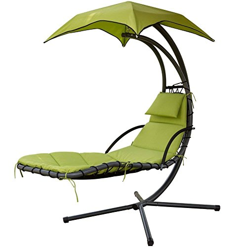 PatioPost Outdoor Hanging Chaise Lounger Chair Swing Hammock Arc Stand Air Porch Canopy
