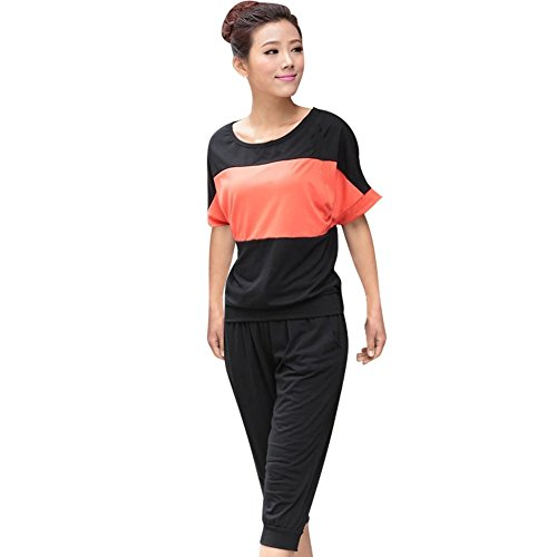 UQ Women's Summer Casual Athletic Contrast Color Tees + Capris Clothing Sets