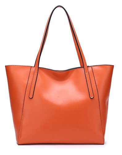 (Everyday LARGE Tote) CHERRY CHICK Women's Genuine Cow Leather Handbag Oversize Purse (Matt Orange-9816)