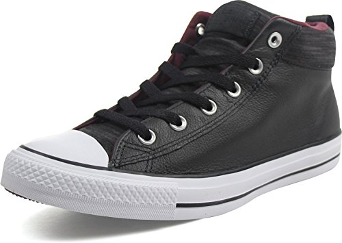 Converse Mens Chuck Taylor All Star Street Sneaker Leer Zwart Wit Fleece