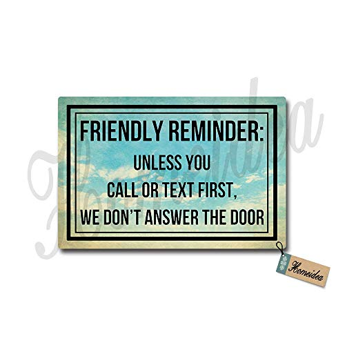 Yangkeji Friendly Reminder Unless You Call Or Text First We Don't Answer The Door Doormat Entrance Floor Mat Funny Doormat Rug Non Slip Mats Bathroom Kitchen Decor Indoor Outdoor Doormat 30
