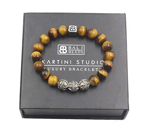 Men's Tiger's Eye Bracelet, Tiger's Eye and Sterling Silver Bali Beads Bracelet, Men's Designer Bracelet (Bali Bead Bracelet)