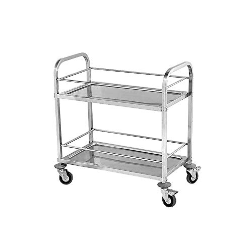 ZCF YEUX Hand Trucks Stainless Steel Heavy Duty 2-Layer Service Trolley Linen Truck Tool Cart for Catering Service/Restaurant/Cleaning (Color : A)
