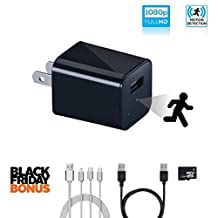 Hidden Camera USB Charger with FREE 3-IN-1 CABLE BUNDLE, Motion Activated, New Model, Built-In 32GB Memory and Loop Recording, Spy Camera Wall Charger Adapter - by Covert Cams