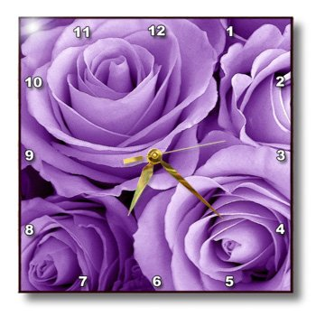 3dRose dpp_27564_2 Soft Lilac Purple Poses Bouquet-Wall Clock, 13 by 13-Inch