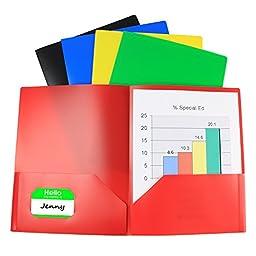 (10 Pack) Two Pocket Poly Portfolio, 2 Pocket Plastic File Folder Includes Business Card Slot, 5 Assorted Colors