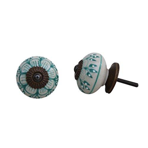 Set of 12 Ceramic Sea Green Flower Drawer Knobs Elegant Door Pull Dresser Handles Pretty Ravishing Antique Finish Online IndianShelf Handmde Handcrafted Gorgeous (1067 Pull)